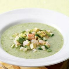 This tomatillo-based gazpacho is gorgeously green with a tart flavor that complements the sweet shrimp and salty olives. Make this meatless by substituting ricotta salata or feta for the shrimp. Serve with: Cheese quesadillas. Healthy Summer Recipes, Gluten Free Recipes For Dinner, Healthy Soup Recipes, Cooking Recipes, Diabetic Recipes, Dinner Recipes, Healthy Foods, Vegan Recipes, Vegetarian Soups