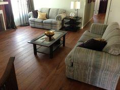 Here's a European White Oak Smooth custom color (Rubio Mahogany) prefinished engineered hardwood floor.