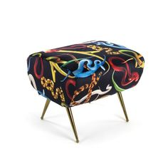 Seletti Funky Footstool In Blue With Lipstick, SNAKES & Shit Pop Art Furniture With Lipstick, Teeth Shit and Snakes in Velvet Material by Seletti Wears Toiletpaper at Smithers of Stamford Dealer Store Uk Seller of Funky Furniture Furniture Care, Funky Furniture, Kids Furniture, Velvet Furniture, Colorful Snakes, Snake Design, Ottoman Bench, Side Chairs, Old World