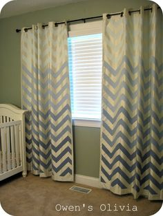 Ombre Painted Chevron Curtains Tutorial on Remodelaholic guest blogger Nancy from Owen's Olivia.  Tutorial is very well written - very specific.  Colour choices (except for the lightest colour):  Lowe's Valspar in Satin Base 2 Antique Blue; Lowe's Valspar Base 1 Paradise Blue and Olympic Base 2 Satin Rendezvous.  Bought 2 sample cans of each colour.  Used 1-2 coats each.