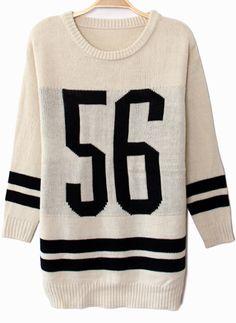 White Long Sleeve 56 Print Knit Sweater 28.33