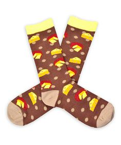 Another great find on #zulily! Brown & Yellow Cheese Crew Socks #zulilyfinds