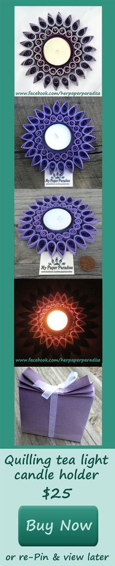 Quilling tea light candle holder. This item is made by curling, shaping strips of paper that are then glued together to form specific designs. Once the design is completed, a protective coating is applied to increase the resistance and durability of the product. This sealant also provides sturdiness to the paper. Its dimensions are approx. 5 inches across and 1/4 inch tall (12 cm and 1 cm respectively). The tea light candle is included.: