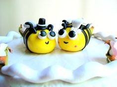 Bee Wedding Cake Topper Polymer Clay Bumblebee Customizable
