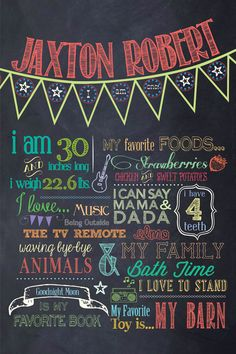 Customizable Printable First Birthday Chalkboard Poster.