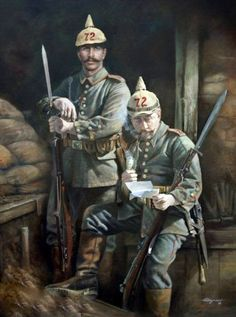 German; 72nd(4th Thuringian) Infantry Regiment, NCO & Soldier. The red edging to their epaulettes confirms they are part of IV Corps. Corp colours displayed on epaulettes was abolished on 20th January 1915.