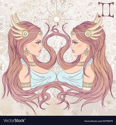 Vector illustration of the astrological sign of Gemini as a portrait beautiful african american girls with long hair. The illustration on decorative grunge background in retro colors Gemini Art, Gemini Traits, Gemini Life, Zodiac Signs Gemini, Zodiac Art, Astrology Signs, Astrological Sign, Zodiac Horoscope, Art Zodiaque