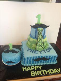 Little man moustache 1st birthday cake and smash cake