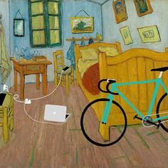"""Bedroom in Arles"", Vincent van Gogh parodie with Gadgets Chef D Oeuvre, Oeuvre D'art, Vincent Van Gogh, Citation Art, Van Gogh Pinturas, Classe D'art, Apple Art, Famous Artwork, Classic Paintings"