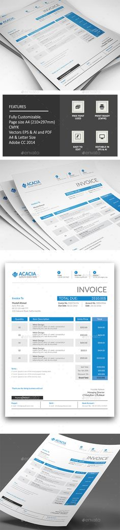 corporate invoice | fonts, creative and icons, Invoice examples