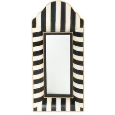 MacKenzie-Childs Striped Mirror ($88) ❤ liked on Polyvore featuring home, home decor, mirrors, handmade home decor and handmade mirror