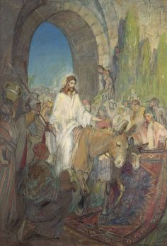 Minerva Teichert Art - Christ's Entry Into Jerusalem - Giclee Canvas Latter-day Saint Art - off SALE LDS Art Jesus Christ Lds Art, Bible Art, Minerva Teichert, Jesus Enters Jerusalem, Pictures Of Christ, Biblical Art, Latter Day Saints, Sacred Art, Christen