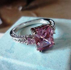 Beautiful Pink Princess White GP Cocktail Silver Ring Free Shipping US Canada!