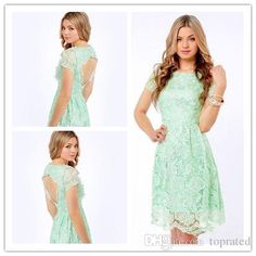 Chiffon Bridesmaid Dresses 2015 Modest Short Mint Bridesmaid Dresses Short Sleeves Keyhole Open Back Knee Length Jewel Wedding Guest Gowns High Quality Junior Bridesmaids Dresses From Toprated, $94.25| Dhgate.Com