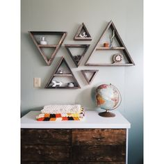 Set of 6 Barnwood Triangle Shelves