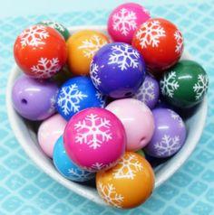 5x 20mm Colorful Snowflake Resin Globe beads by CuteCornwall