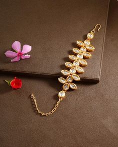 Product Features : Color: Gold Material: Kundan Product Size: 18 cm x 3 cm Product Care: Keep Away From Moist Traditional Indian Jewellery, Indian Jewelry, Fashion Jewelry Stores, Fashion Jewellery, Shape Design, Gold Material, Wedding Wear, Stone Bracelet, Photo Jewelry