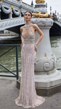 julie vino 2019 paris bridal sleeveless halter neckline keyhole bodice full embellishment glamorous elegant sheath wedding dress keyhole bodice sweep train mv -- 100 Wedding Dresses You Loved in Sheaths, Mermaids and Sexy Wedding Dresses, Bridal Dresses, Wedding Gowns, Art Deco Wedding Dress, Wedding Stage, Modest Wedding, Bridesmaid Dresses, Formal Dresses, Vestidos Vintage
