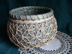 Dark Green Knotwork Cat's Head Basket by fredasbaskets on Etsy, $38.00