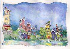 Beth S Macre ~ Art Journal: Adding Watercolor to Pen and Ink. Ink Pen Art, Pen And Watercolor, Book Illustration, Illustrations, Whimsical Art, Art Blog, Online Art, Art For Kids, Doodles