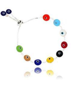 pulseira olho grego colorida prata 925