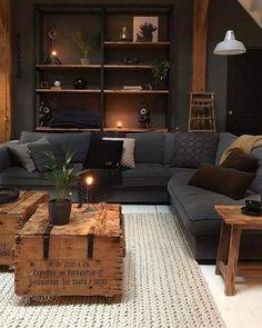 Dark Living Rooms, Home Living Room, Living Room Designs, Living Room Decor, Bedroom Decor, Decor Room, Spare Living Room Ideas, Country Living Rooms, Black Room Decor