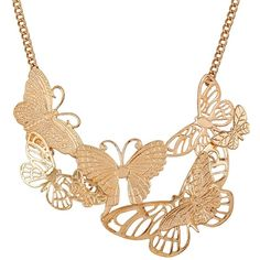 Ruby Rocks Jewellery The New Mini Intricate Butterfly Necklace ($28) ❤ liked on Polyvore featuring jewelry, necklaces, neutral, monarch butterfly necklace, butterfly pendant, butterfly necklace, gold tone necklace and chain pendant