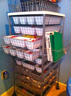 lego organization. Tower from IKEA. I like that it's easy to move