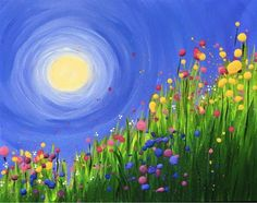 Pretty wildflowers and swirled sun beginner painting idea.