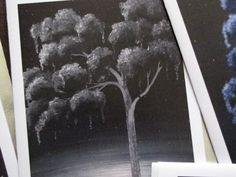 Raven Weeping Tree black and white Surreal Art by ArtByKatieK, $3.25
