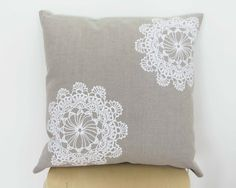 ETSY ON SALE Doily Cushion - Hand Screenprinted