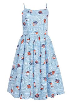 The Sunday Mermaid Print Sun Dress is the perfect nautical style day dress  with a vintage-inspired feel - perfect for a holiday or sunny days. cc305e2ed