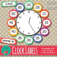 Clock Labels - Polka Dot - Classroom Decor