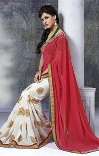 Dazzling Hot Pink & Off White Georgette Lace Work Saree