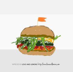 #sandwich #illustration #vege  impressed by pic from:   http://www.loveandlemons.com/2012/06/23/grilled-veggie-sandwich-romesco/
