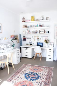 A tour of Megan Nielsen's workroom // A stylish home office with multiple workspaces included sewing space Home Office Space, Home Office Design, Home Office Decor, Home Decor, Sewing Room Design, Craft Room Design, Sewing Spaces, Small Sewing Space, Ikea Sewing Rooms