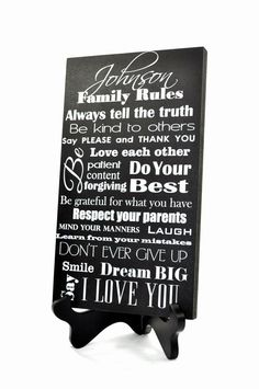 Personalized Family Rules Sign Family 10x18 by MRCgiftco on Etsy, $37.00