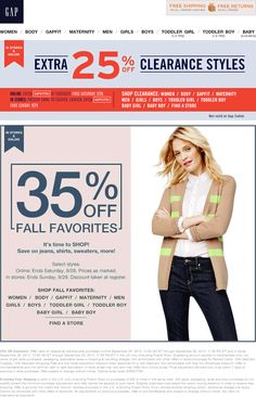 Pinned September 26th: Extra 25% off clearance & more at #Gap, or online via promo code GAPEXTRA #coupon via The Coupons App