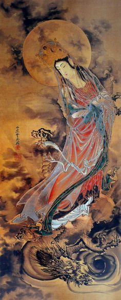 "The Goddess Guanyin or Kannon (観音) standing on a dragon, watercolor on silk. (all artworks are sold without the ""Calliope's Bucket"" stamp) Kawanabe, Japanese Art, Japanese Artists, Buddhist Art, Culture Art, Asian Artwork, Japanese Woodblock Printing, Art, Eastern Art"