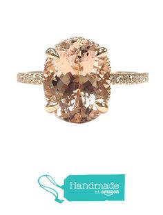 Oval Morganite Engagement Ring Pave Diamond 14K Rose Gold 8x10mm Claw Prong from the Lord of Gem Rings https://www.amazon.com/dp/B01HDRIHEI/ref=hnd_sw_r_pi_dp_mrCAxb05PQXGS #handmadeatamazon