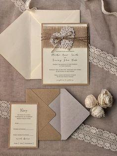 Invitaciones de boda perfectas para una boda rústica - Foto Etsy
