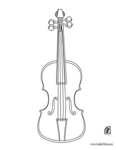 Violin coloring page - except add lines so they can fill in the names of each part of the violin.