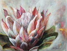 Diy Canvas Art, Diy Wall Art, Protea Art, Flower Art, Art Flowers, Bedroom Prints, Floral Drawing, King Art, Medium Art
