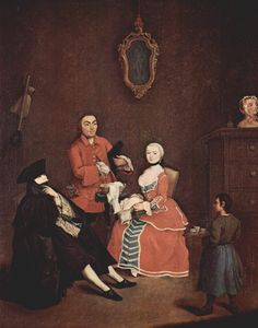 Artist: Pietro Longhi  Style: Rococo  Genre: genre painting  Technique: oil  Material: canvas  Dimensions: 51 x 63 cm  Gallery: Ca' Rezzonico, Museo del Settecento, Venice  Tags: arts-and-crafts, masks-and-fans