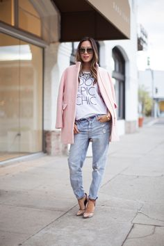 Aimee Song casual cool wearing a grahic tee, distressed boyfriend jeans, J.Crew pink cacoon coat & Rachel Roy heels #StreetStyle