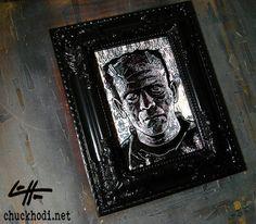 Frankenstein  Original Drawing  Classic Monsters Dark by chuckhodi, $50.00