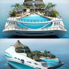 A yacht that looks like an island