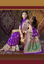 Purple Banarasi Art Silk Saree with Blouse