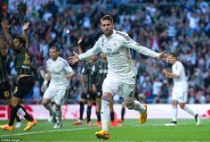 Sergio Ramos celebrates scoring for Real Madrid in the 24th-minute against Malaga. #halamadrid