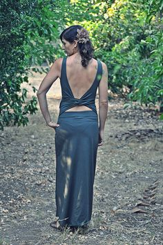 Open back maxi dress, Olive green maxi dress, Convertible backless dress ~ Made To Order Dress
